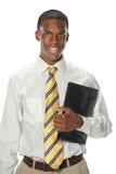 Портрет бизнесмена держа папку стоковые изображения rf