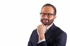 Портрет бизнесмена изолированного на белой предпосылке. Студия Стоковые Изображения