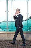 Портрет бизнесмена идя и говоря на мобильном телефоне Стоковые Фотографии RF