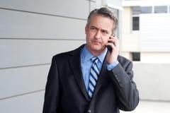 Портрет бизнесмена на телефоне Стоковое Изображение