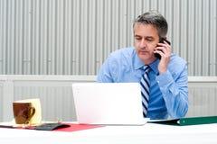 Портрет бизнесмена на телефоне Стоковое фото RF