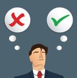 Портрет бизнесмена принимает решениее, верно или ложный вектор бесплатная иллюстрация