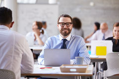 Портрет бизнесмена работая на компьтер-книжке в занятом офисе Стоковое фото RF