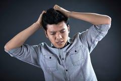 Портрет бизнесмена с головной болью Стоковая Фотография