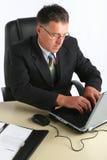 Портрет бизнесмена с компьютером Стоковые Изображения RF