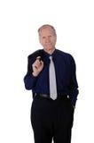 Портрет бизнесмена с костюмом на его плече изолированном на белой предпосылке Стоковые Фото