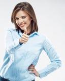 Портрет бизнес-леди большой пец руки предпосылки изолированный чернотой вверх Стоковое фото RF