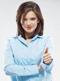 Портрет бизнес-леди большой пец руки предпосылки изолированный чернотой вверх Стоковое Изображение RF