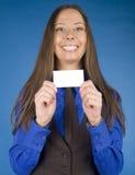 Портрет бизнес-леди красоты с пробелом карточки посещения Стоковые Фото