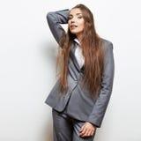 Портрет бизнес-леди на белизне Стоковая Фотография RF
