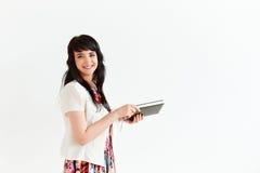 Портрет бизнес-леди на белой предпосылке Стоковая Фотография RF