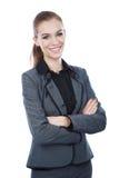 Портрет бизнес-леди. Пересеченные оружия. Стоковое Изображение RF