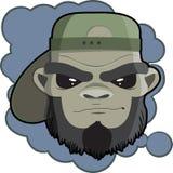 Портрет битника обезьяны с темной печатью крышки для футболки Голова обезьяны для плаката Стоковое Фото