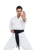 Портрет бойца выполняя позицию карате Стоковое Изображение