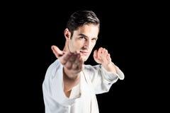 Портрет бойца выполняя позицию карате Стоковое Изображение RF