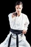 Портрет бойца выполняя позицию карате Стоковые Фотографии RF