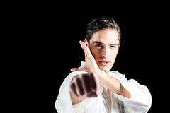Портрет бойца выполняя позицию карате Стоковые Изображения RF