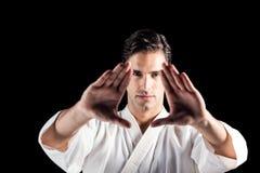 Портрет бойца выполняя позицию карате Стоковая Фотография RF