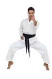 Портрет бойца выполняя позицию карате Стоковая Фотография