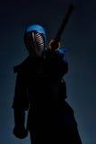 Портрет бойца kendo с shinai Стоковое Изображение