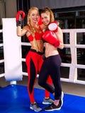 Портрет бокса девушки 2 спорт на кольце Стоковая Фотография RF