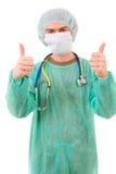 Портрет большого пальца руки молодого доктора идя вверх, Стоковые Фото