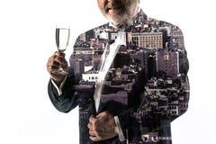 Портрет бородатого бизнесмена Город двойной экспозиции на предпосылке Стоковое фото RF