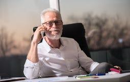 Портрет бородатого старшего бизнесмена говоря на мобильном телефоне, трудном свете Стоковое Фото