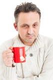 Портрет больного страдания человека гриппа или холода Стоковое Изображение