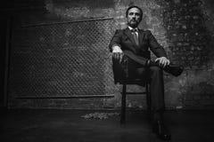Портрет большого босса мафии стоковые фото