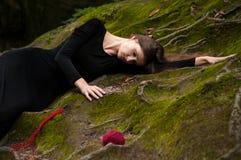 Портрет брюнет в черном платье которое лежит на зеленом мхе, и вокруг разбросанных шариков красного потока Стоковые Изображения RF