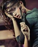 портрет брюнет милый Стоковые Изображения RF