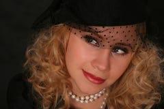 портрет ввел женщину в моду сбора винограда Стоковые Фото
