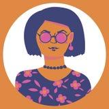 Портрет вектора женщины с стеклами бесплатная иллюстрация