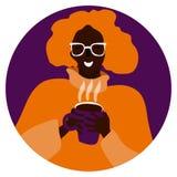 Портрет вектора усмехаясь женщины с кофе иллюстрация штока