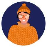 Портрет вектора усмехаясь женщины с стеклами иллюстрация штока