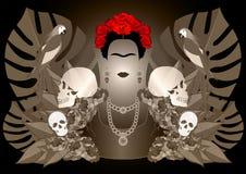 Портрет вектора Frida Kahlo, молодая красивая мексиканская женщина с традиционным стилем причёсок, мексиканец производит ювелирны Стоковая Фотография RF