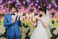 Портрет вентилятора красивых пар венчание заказа части платья Accesso свадьбы Стоковая Фотография RF