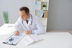 Портрет взрослого доктора сидя на его столе Стоковое Изображение RF