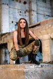 Портрет воинской девушки стоковая фотография