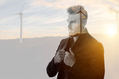 Портрет двойной экспозиции бизнесмена Стоковое Изображение RF