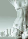 Портрет двойной экспозиции женщины в бикини и горизонте Нью-Йорка Стоковая Фотография