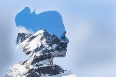 Портрет двойной экспозиции молодой женщины и горы стоковое фото rf