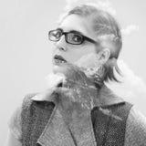 Портрет двойной экспозиции привлекательной красивой молодой женщины Стоковое фото RF