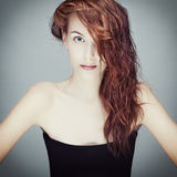 портрет волос девушки влажный Стоковое Изображение