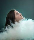 Портрет в дыме стоковое изображение rf