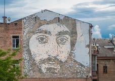 Портрет героя Украины высек на кирпичной стене Стоковая Фотография RF