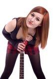 портрет гитары девушки подростковый Стоковые Фото