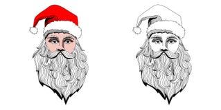 Портрет головы Санта Клауса Нарисованная рука вектора Иллюстрация вектора