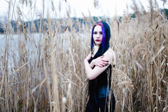 Портрет готической женщины в высокой траве Стоковое Изображение RF